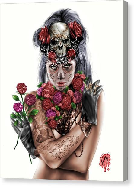 Crying Canvas Print - La Calavera Catrina by Pete Tapang