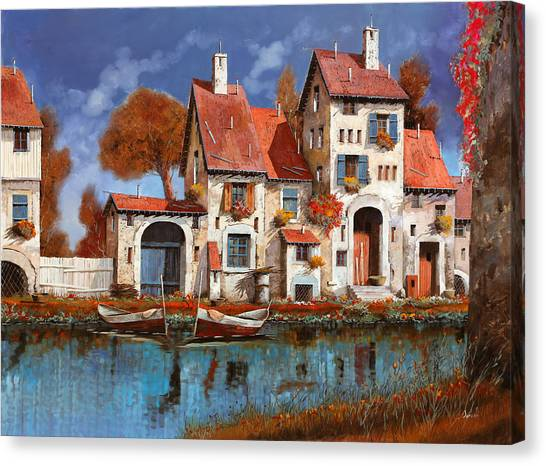 Villages Canvas Print - La Cascina Sul Lago by Guido Borelli