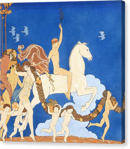 Hellenistic Art Canvas Print - La Cheval Blanc by Georges Barbier