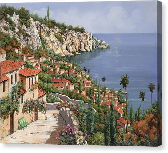 Benches Canvas Print - La Costa by Guido Borelli