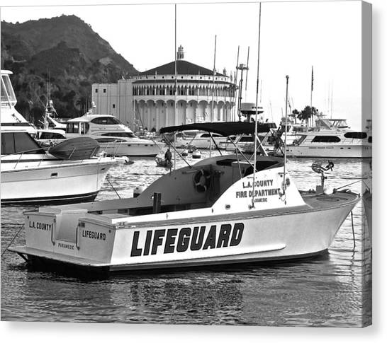 L A County Lifeguard Boat B W Canvas Print