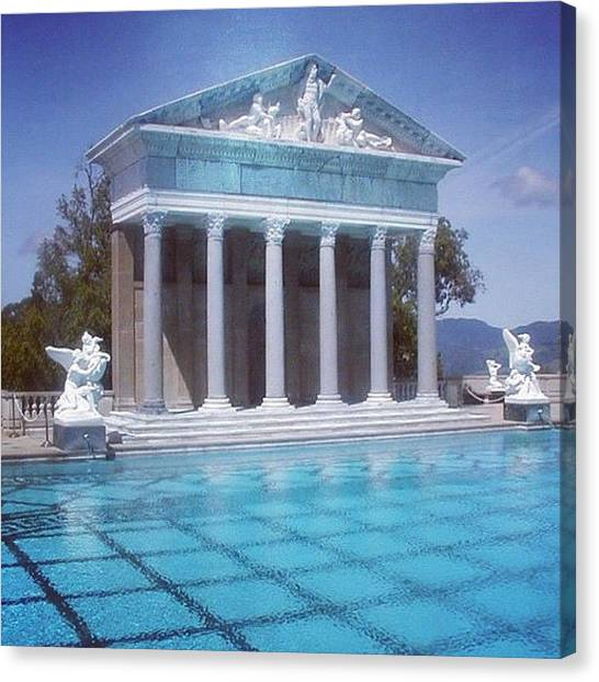 Swimming Canvas Print - La Dolce Vita At Hearst Castle - San Simeon Ca by Anna Porter