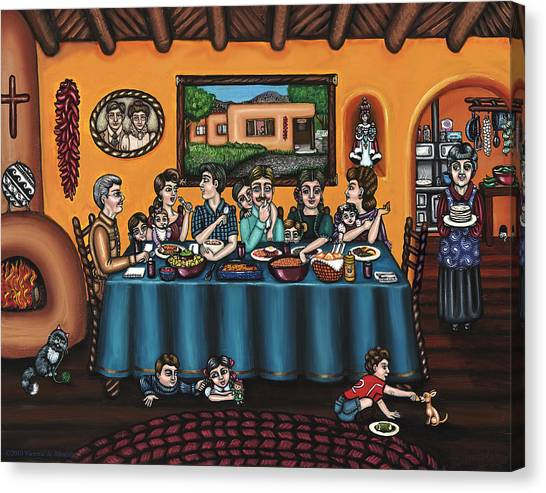 Salsa Canvas Print - La Familia Or The Family by Victoria De Almeida