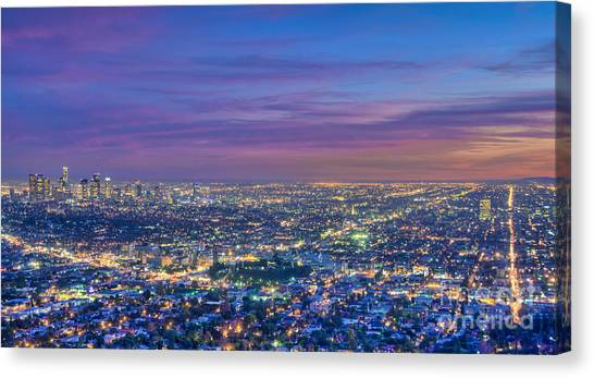 La Fiery Sunset Cityscape Skyline Canvas Print