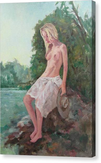 La Fille To The Pond Canvas Print by Alain Lutz