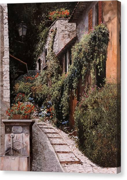 Fountain Canvas Print - La Fontanella by Guido Borelli