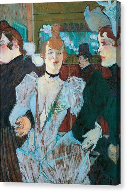 Post-modern Art Canvas Print - La Goulue Arriving At Moulin Rouge With Two Women by Henri de Toulouse Lautrec
