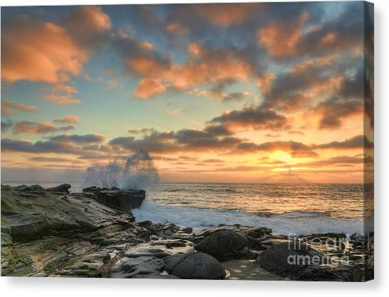 Orange Canvas Print - La Jolla Cove At Sunset by Eddie Yerkish