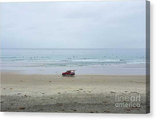 Big West Canvas Print - Surfers On A Beach In La Jolla California by Mel Ashar