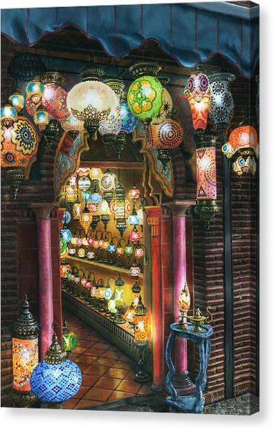 Moroccan Canvas Print - La Lamparareia En La Noche Albacin Granada by Richard Harpum