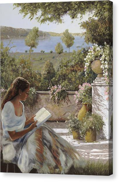 Lady Canvas Print - La Lettura All'ombra by Guido Borelli