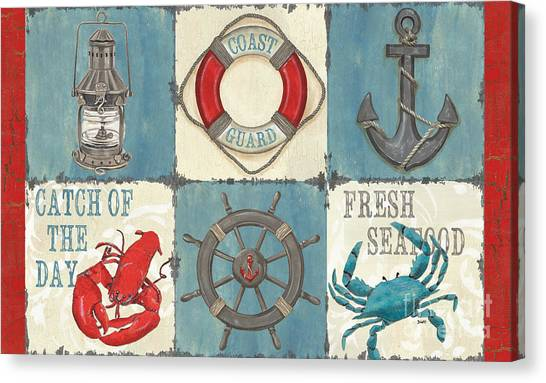 Lobster Canvas Print - La Mer Collage by Debbie DeWitt