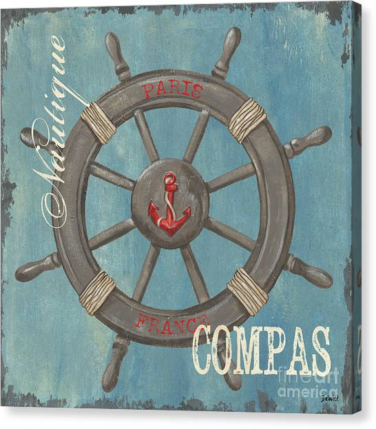 Nautical Decor Canvas Print - La Mer Compas by Debbie DeWitt