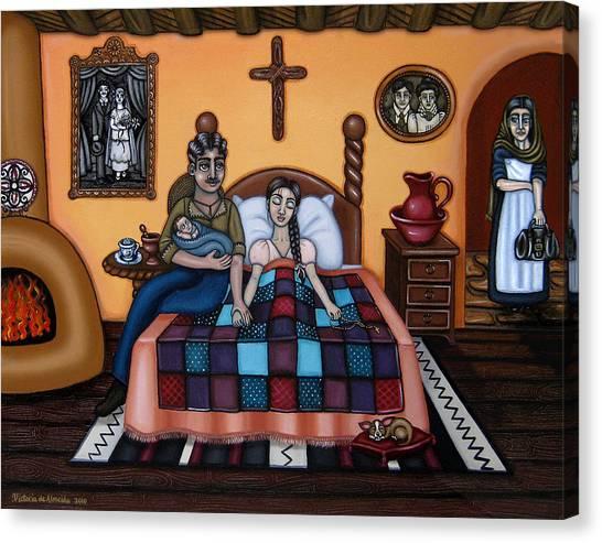 New Baby Canvas Print - La Partera Or The Midwife by Victoria De Almeida