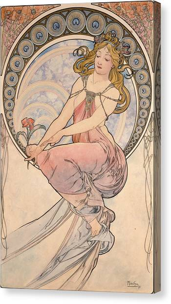 Women Only Canvas Print - La Peinture, 1898 Watercolour On Card by Alphonse Marie Mucha