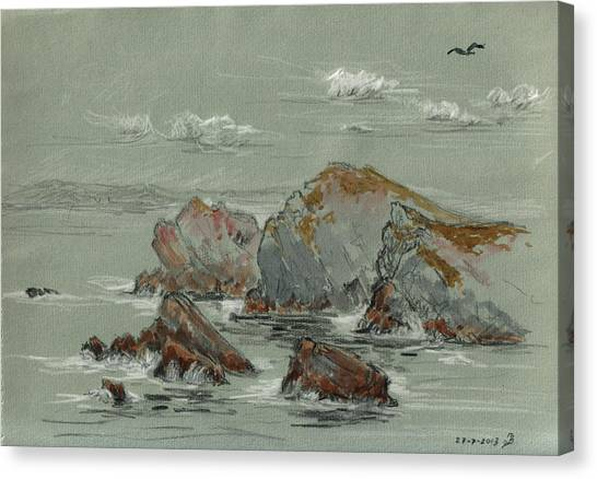 Gulls Canvas Print - La Penyona Seascape by Juan  Bosco