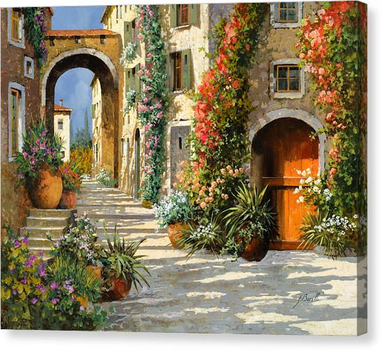 Old Door Canvas Print - La Porta Rossa Sulla Salita by Guido Borelli