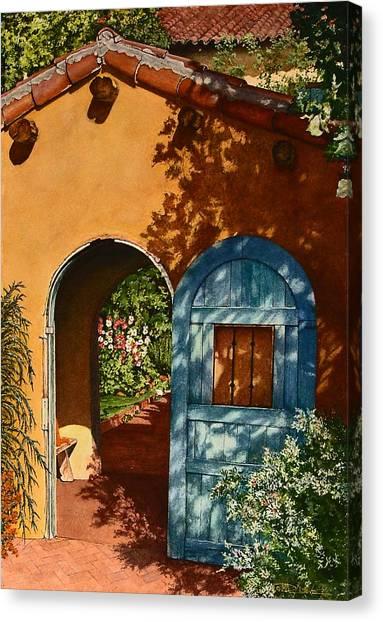 La Posada Hotel Hollyhock Garden Winslow Az Canvas Print