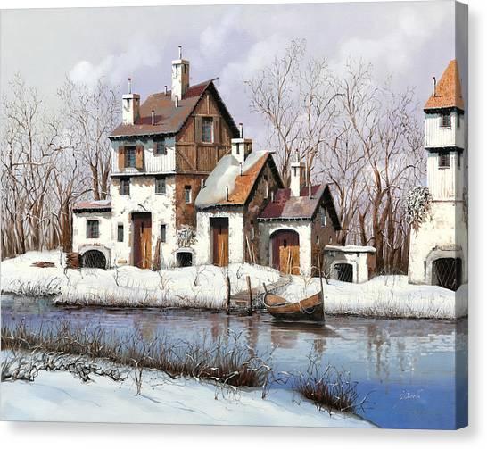 White River Canvas Print - La Prima Neve by Guido Borelli