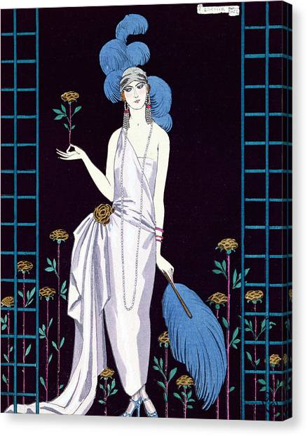 Ostriches Canvas Print - 'la Roseraie' Fashion Design For An Evening Dress By The House Of Worth by Georges Barbier
