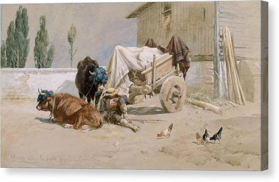 Chicken Farms Canvas Print - La Sieste by Richard Beavis