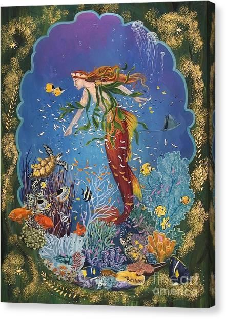 Angel Mermaids Ocean Canvas Print - La Sirena by Sue Betanzos
