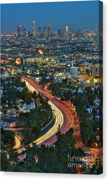 La Skyline Night Magic Hour Dusk Streaking Tail Lights Freeway Canvas Print