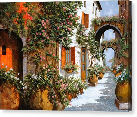 Villages Canvas Print - La Strada Al Sole by Guido Borelli