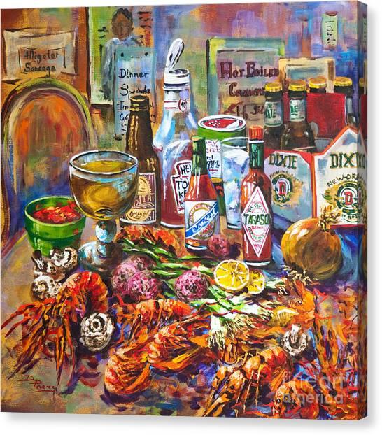Restaurant Canvas Print - La Table De Fruits De Mer by Dianne Parks