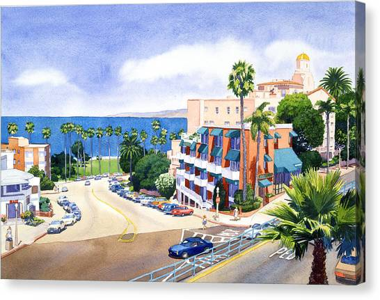 City-scapes Canvas Print - La Valencia And Prospect Park Inn Lj by Mary Helmreich