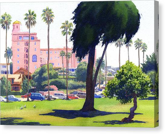 Cypress Canvas Print - La Valencia Hotel And Cypress by Mary Helmreich