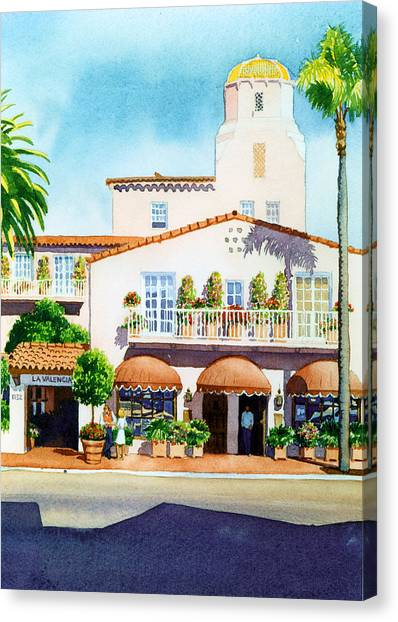 Hotels Canvas Print - La Valencia Hotel by Mary Helmreich