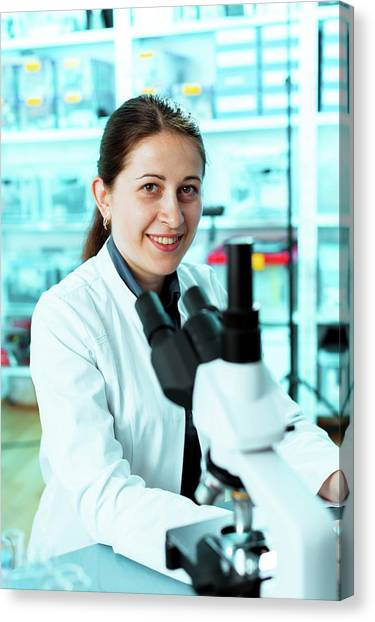 Lab Technician With A Microscope Canvas Print by Wladimir Bulgar/science Photo Library