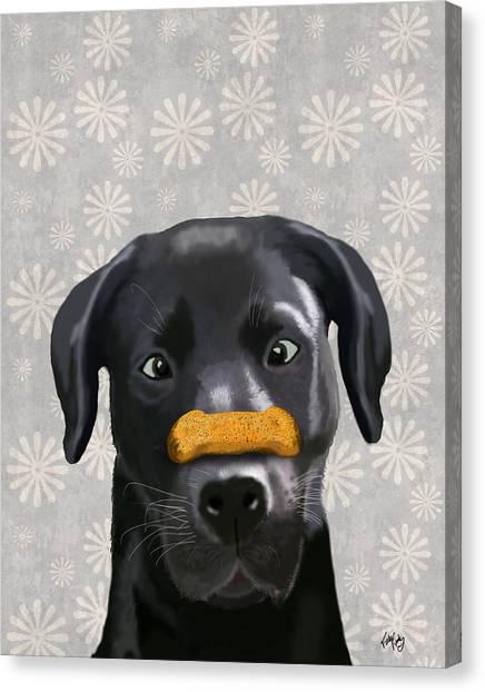 Labrador Black With Bone On Nose Canvas Print by Kelly McLaughlan