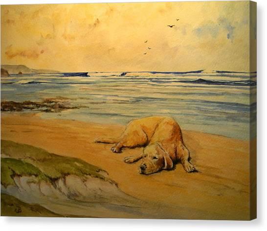 Labrador Retrievers Canvas Print - Labrador Retriever In The Beach by Juan  Bosco