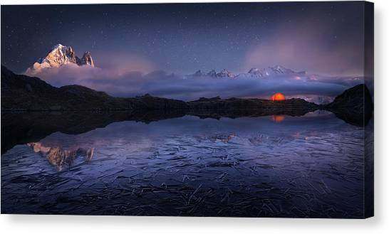 Mountain Ranges Canvas Print - Lac Des Cheserys by Martin Dodrv
