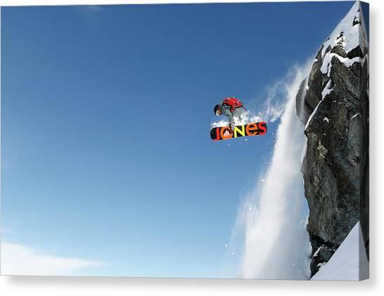 Snowboarding Canvas Print - Lac Des Vaux by Jakob Sanne