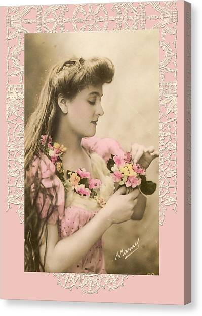Lace And Poisies Victorian Lady Canvas Print by Denise Beverly