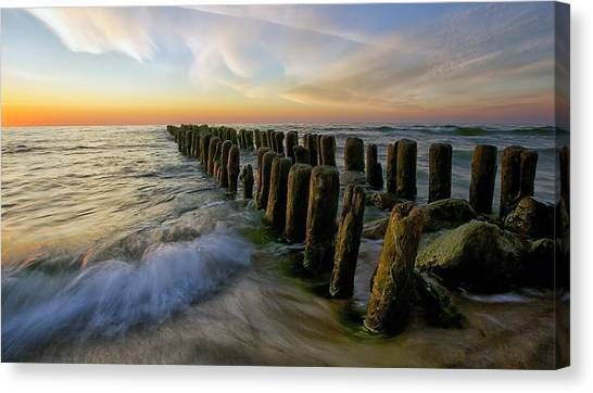 Pier Canvas Print - Lace Sunset by Margarita Chernilova