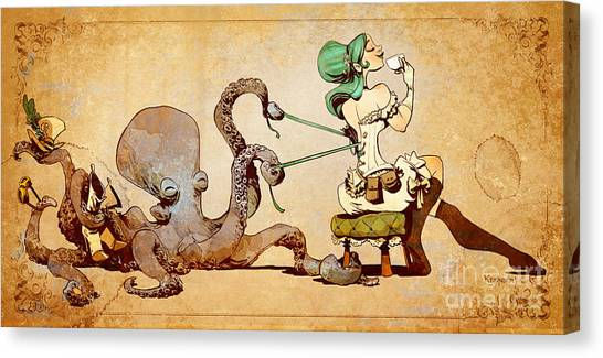 Octopus Canvas Print - Lacing Up by Brian Kesinger