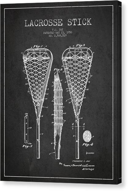 Technical Canvas Print - Lacrosse Stick Patent From 1950- Dark by Aged Pixel