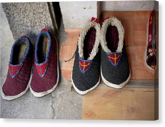 Karakoram Canvas Print - Ladakh, India Traditional Fabric Shoes by Jaina Mishra