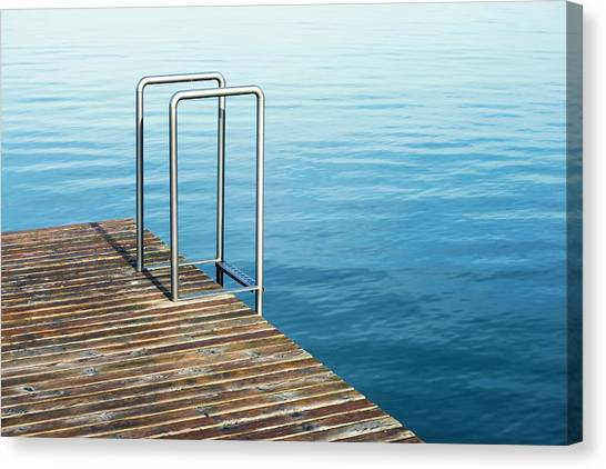 Swimming Canvas Print - Ladder by Chevy Fleet