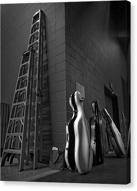 Ladders And Cello Cases Canvas Print by Adrian Mendoza