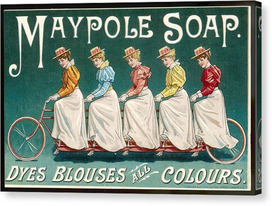 Dye Canvas Print - Ladies In Coloured Shirts On A  Bicycle by Mary Evans Picture Library