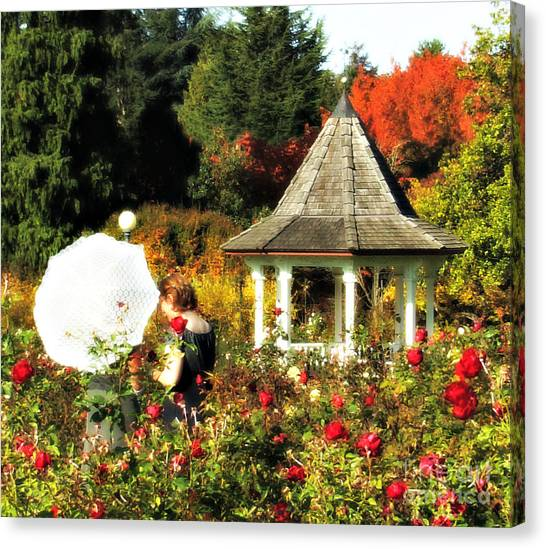 Ladies In Rose Garden Canvas Print