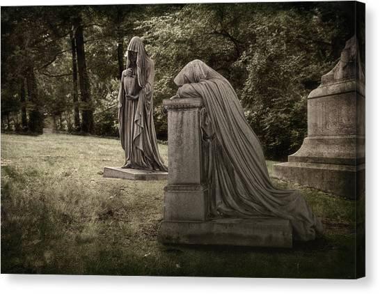 Cemetery Canvas Print - Ladies Of Sorrow by Tom Mc Nemar
