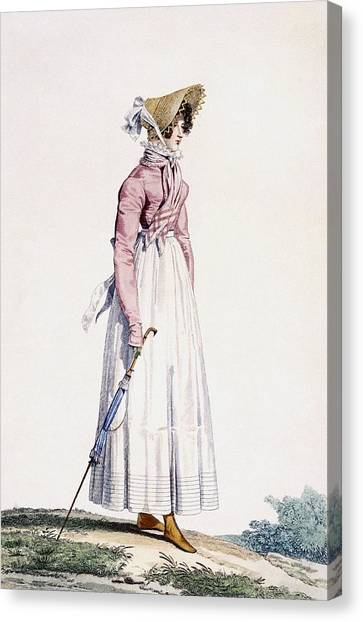 Fashion Plate Canvas Print - Ladies Summer Dress by Antoine Charles Horace Vernet