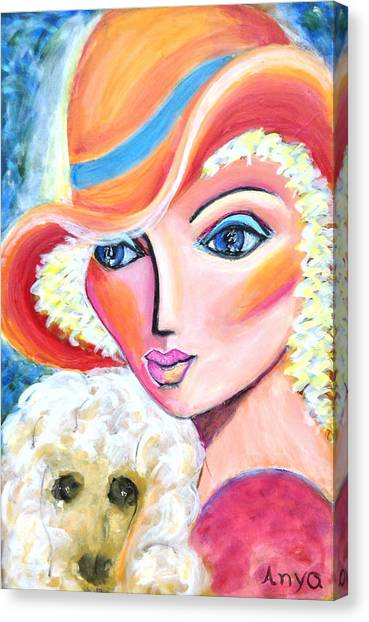 Lady And Poodle Canvas Print