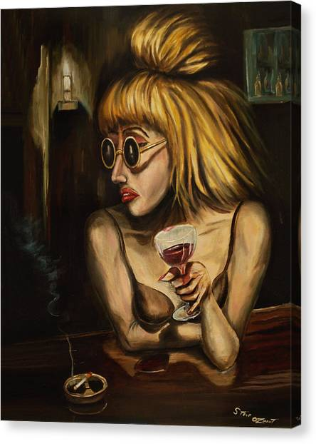Lady At The Bar Canvas Print